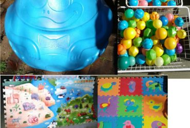 Kids Plastic Pit Balls & Toy Storage Container Large Foam Floor Mat