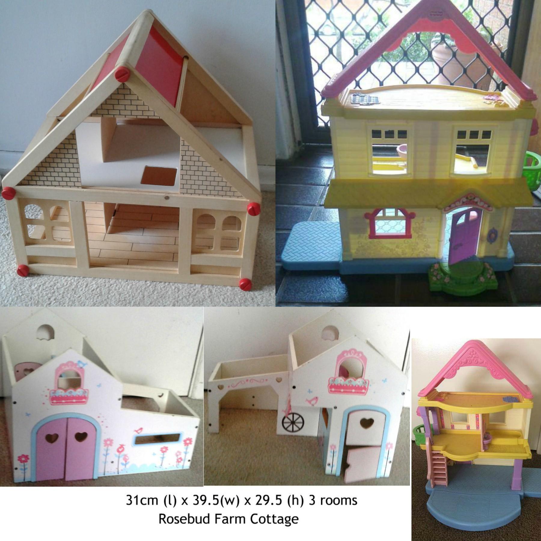 Dollhouses 2 Floor Dollhouse – Fisher Price My First Dollhouse – Rosebud Farm Cottage – Furniture