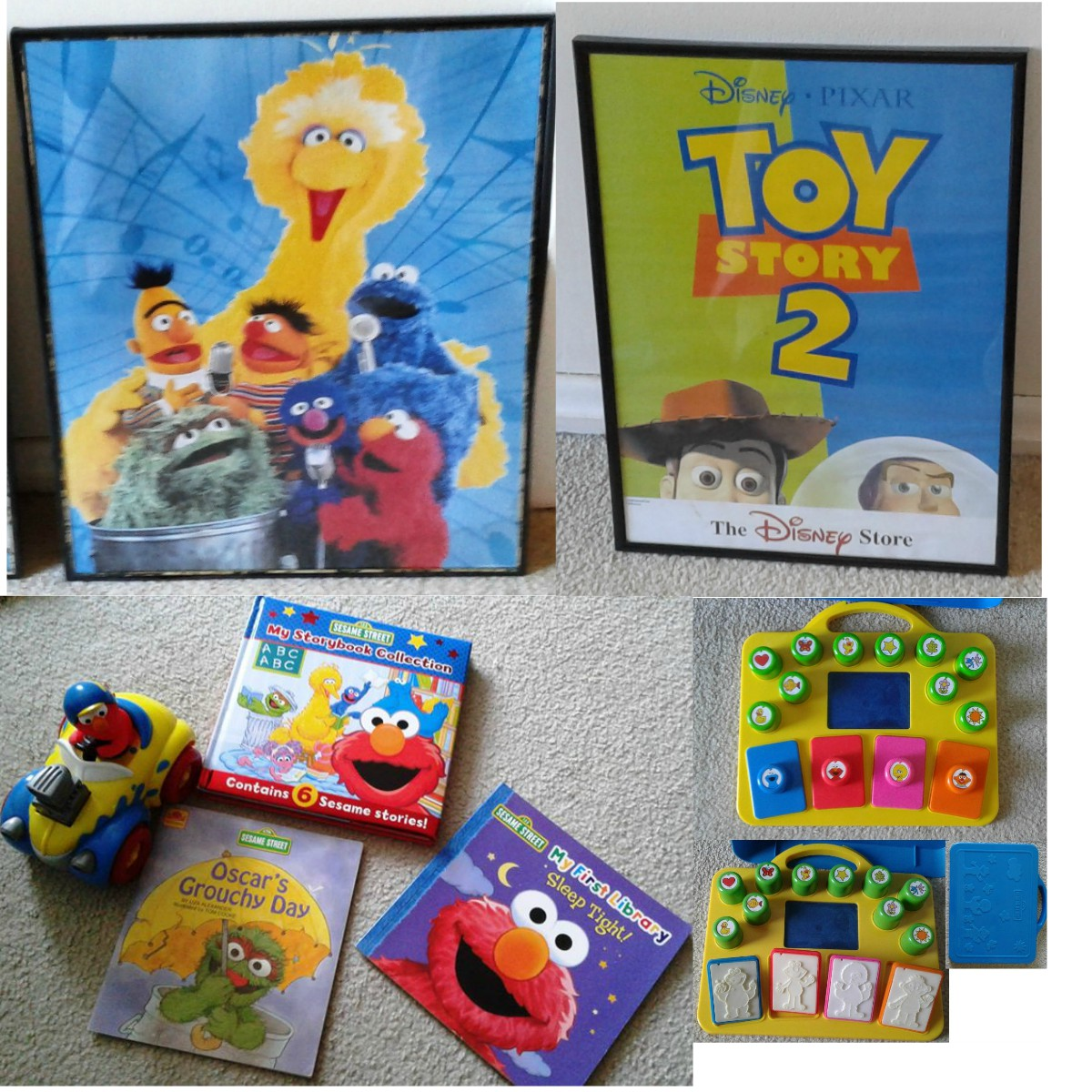 Sesame Street Bundle Books & Vintage Push and Go Race Car – Craft Stamping Kit