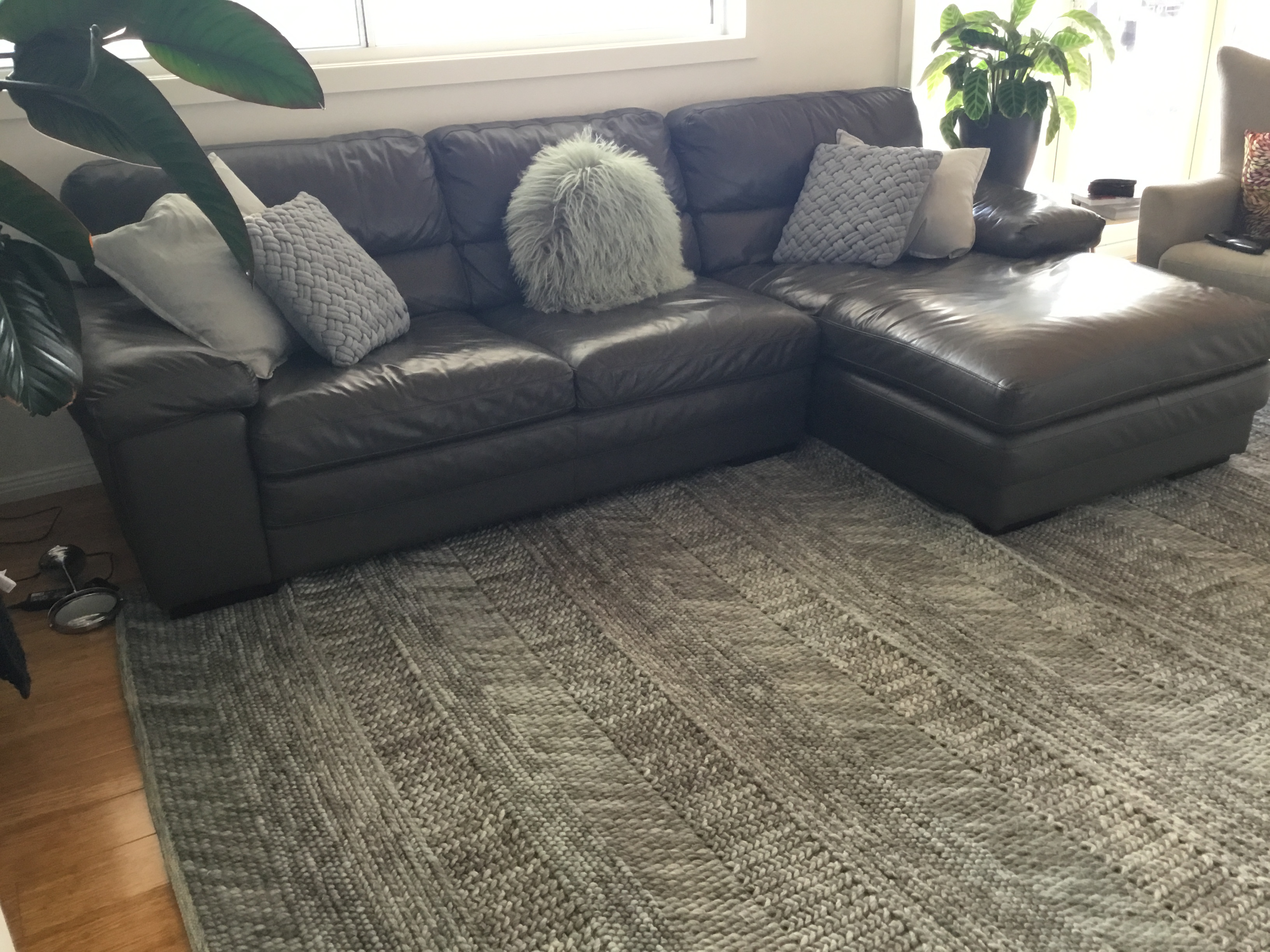 Slate Grey Leather Sofa with Chaise